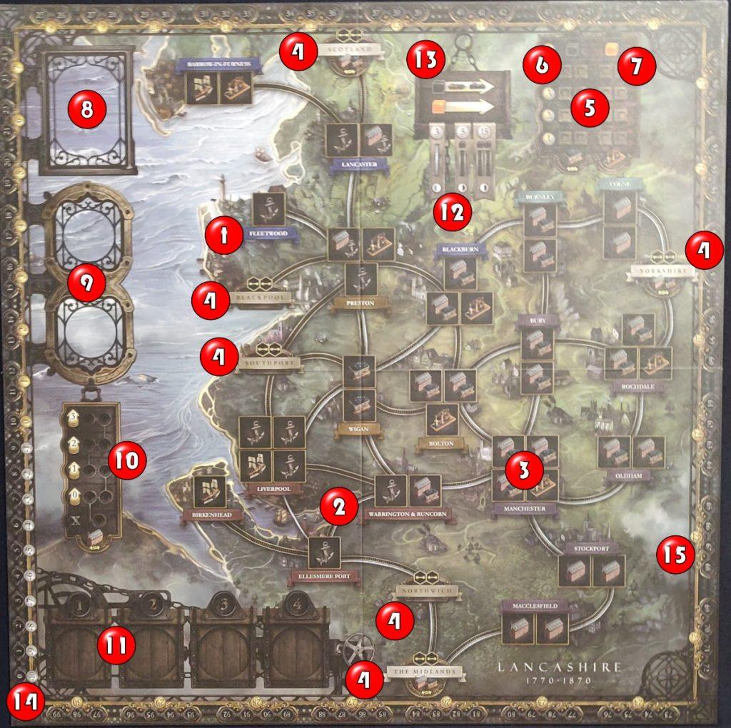 Mapa explicado de Brass: Lancashire