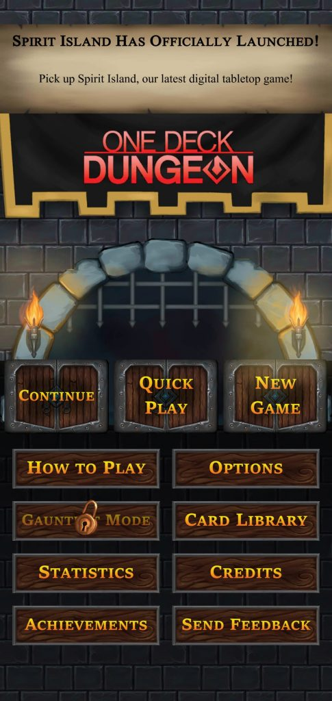 Pantalla inicial de One Deck Dungeon