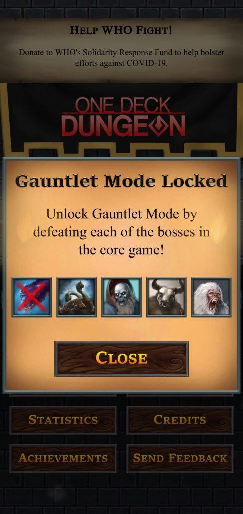 Modo gauntlet de One Deck Dungeon
