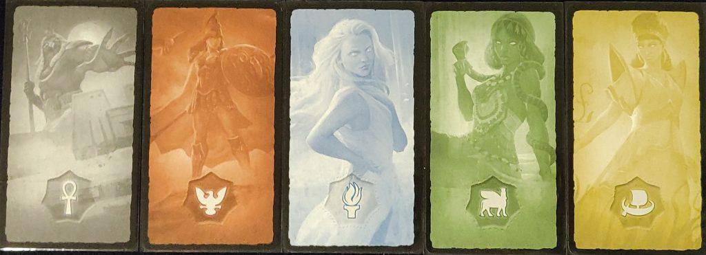 Trasera cartas de dioses de 7 Wonders Duel: Pantheon
