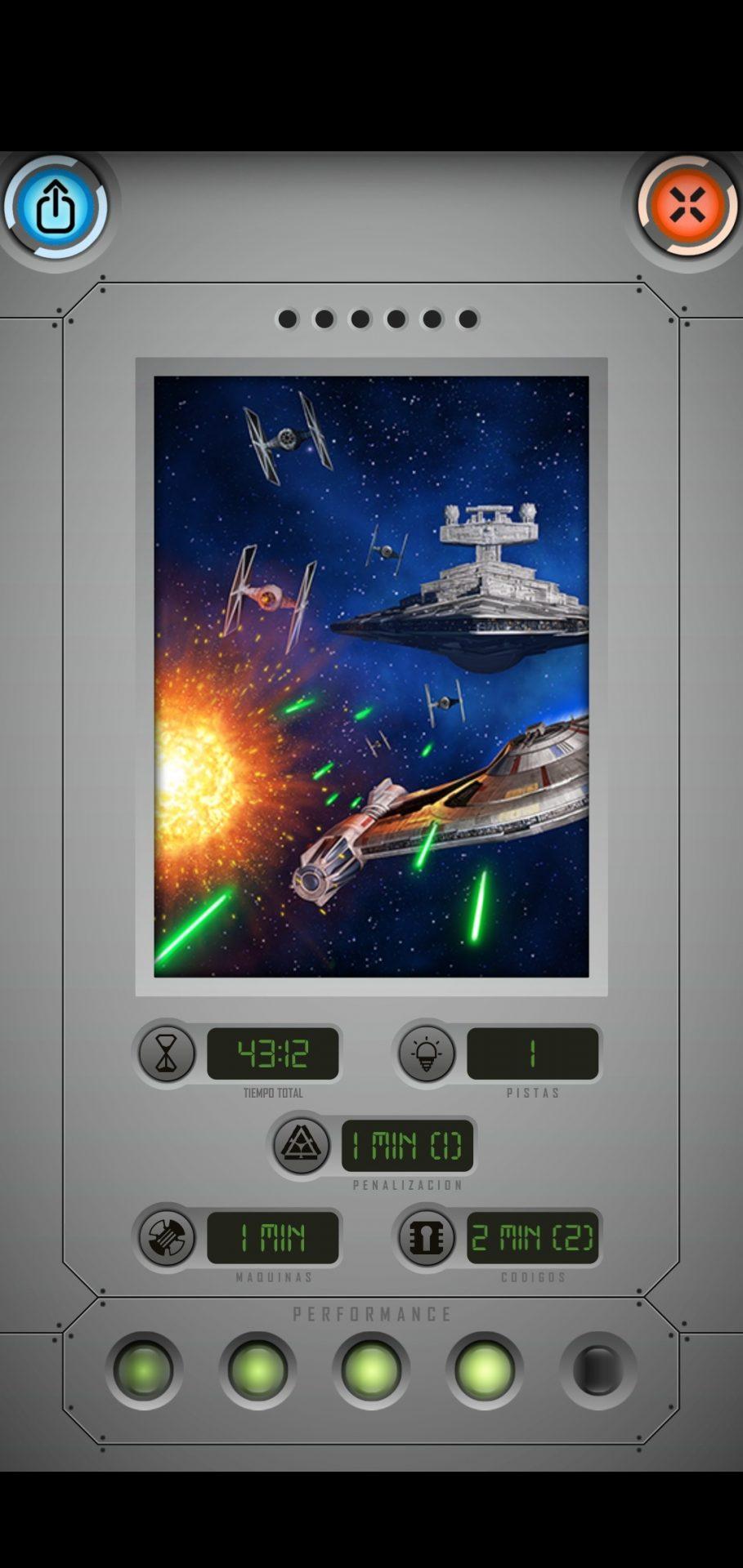 Final de partida de segunda partida de Star Wars: Escape Game