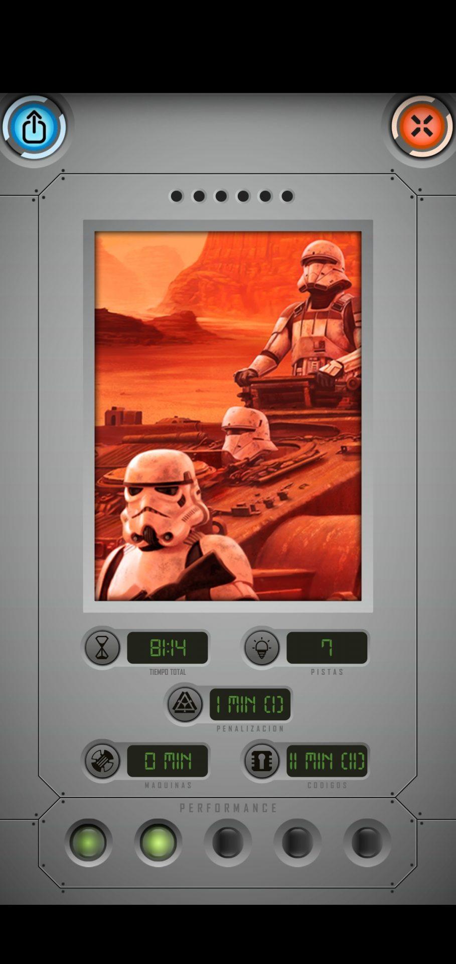 Final de tercera partida de Star Wars: Escape Game